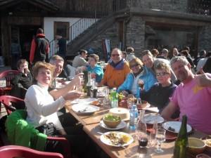 A relaxing lunch at La Ferme, Villaroger