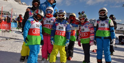 First-timers at snowsports in Falcade, Italy