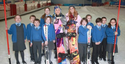 Stacey Solomon (Middle Right), who took part in The Jump, and British Olympic snowboarder, Aimee Fuller (Middle Left) launch the inaugural National Schools Snowsport Week, with pupils from the Larmenier and Sacred Heart Catholic Primary School, at The Snow Centre in Hemel Hempstead, Hertfordshire. PRESS ASSOCIATION Photo. Picture date: Friday April 22, 2016. National Schools Snowsport Week is sponsored by Visit Andorra and Equity, and aims to encourage schools to introduce their pupils to snowsports. Activities will be on offer for school children at 22 slopes across the country, with hundreds of pupils expected to benefit from affordable sessions and activities over the eight-day initiative. Photo credit should read: Matt Alexander/PA Wire
