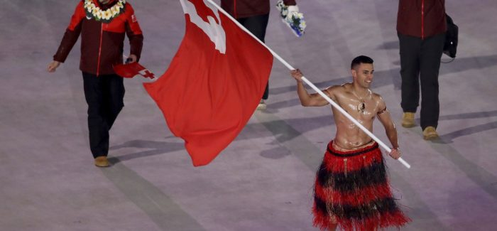 Tongan shirtless in PyeongChang subzero temperatures