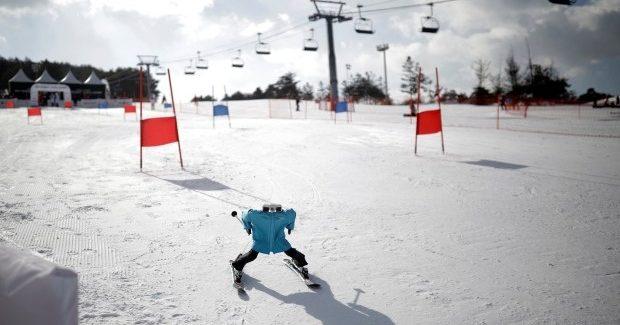Robot ski racing in South Korea